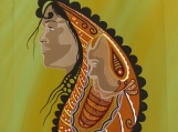 Woman Giving Birth , Paisley, Indigenous Painting, Acrylic on Canvas