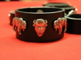 Indigenous Leather Bracelet with Metal Animals Decorations