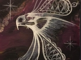 Eagle, Fluorescent, Glowing Indigenous Painting, Acrylic on Canvas Board