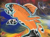 Feast, Fish, Fluorescent, Glowing Indigenous Painting, Acrylic on Canvas Board