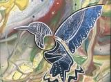 Freedom, Hummingbird, Fluorescent Indigenous Painting, Acrylic on Canvas