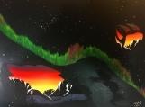 Night Call, Aurora, Fluorescent Indigenous Painting, Acrylic on Canvas