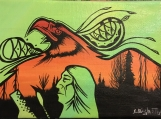 Prayer Song, Eagle, Indigenous Painting, Acrylic on Canvas
