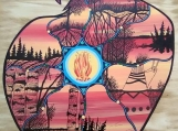 The Eagle Spirit Representing Love of Grandfathers, Indigenous Painting, Acrylic and Ink-work on Board Panel