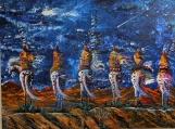 """Blue Star Night"" Acrylic & Ink Native Painting"