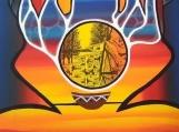 Praying, Acrylics, Black India Ink, Canadian Indigenous Painting