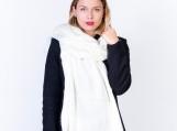 Chic Oversized White Alpaca Wool Shawl / Scarf (White)