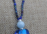 Aqua Marine, Lamp Work Glass, Czech Glass Pendant