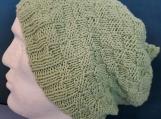 basket weave hat in light green