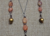 Bronze Pearl Pendant and Earring set