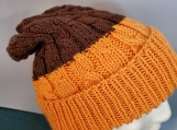 cable hat in chocolate orange