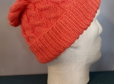 cabled hat peachy