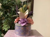 Ceramic pot with paper flowers
