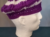 classic beret in purple and white