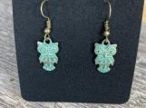 Copper Petina Owl Earrings