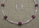 Cranberry Mother of Pearl Inlay Necklace and Earring Set
