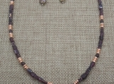 Garnet, Hematite, and Czech Glass Heart Necklace and Earring Set