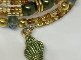 Green and Gold Shell pearl bracelet