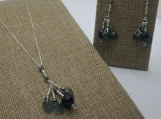 Navy Blue Quartz, Czech Glass Pendant Set