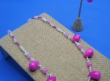 Pink Jade and Quartz Sterling Silver Necklace and Earrings