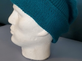 turquoise long rolled brim knit hat