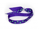 Adjustable Headband - Purple with Lime Dots