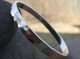 Disco Ball Bangle . sterling silver . hammered to a mirror shine