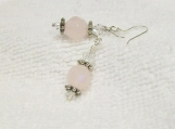 Sterling Silver Faceted Pink Glass & Crystals Earrings