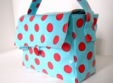 Aqua and Red Polka Dot Short Boxed Lunch Bag