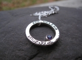 Mother's Hammered Circle Pendant with your choice of birthstone