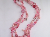 Not your grandmas Spiral rope necklace/Pink Mix