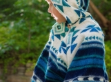 Blue Unisex Alpaca Baby Poncho, Ethnic Print (Blue)