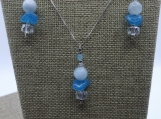 Aquamarine and Czech Glass Pendant and Earrings