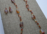 Carnelian, Bronze Colored Pearl and Glass Suite
