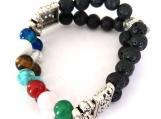 Double Strand Chakra Stretch Bracelet with Metal Enhancements