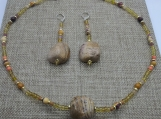 Jasper and Glass Necklace and Earring Set