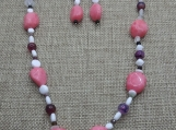 Pink Quartzite, Dragon's Blood Agate, Rose Quartz Beggar Beads