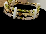 Rose Quartz, Peridot, layered bracelet