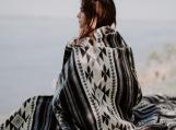 Alpaca Wool Tribal Boho Blanket (Queen) (Grey - Blue Grey)