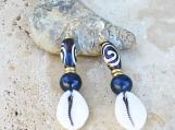 Batik Bone Brass Cowrie Shell Earrings