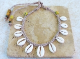 Beige Cowrie Shell Necklace Nigerian White Matte Shells