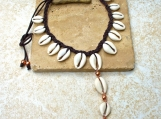 Copper and Cowrie Necklace with Hammered Copper Spiral Drop - Unique -Boho- Beautiful - Ethnic