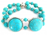 Double Strand Turquoise Colored Beaded Stretch Bracelet
