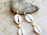 Double Cowrie Shell Dangle Earrings