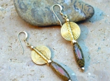 Dyed Bamboo Bead Earrings with Vermeil Gold Discs and Gold Filled Beads - Beautiful Lightweight Earrings