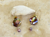 Faceted Glass Earrings-Whimsical Dainty Dangle Sparkly
