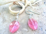 Faceted Rose Quartz Leaf Earrings