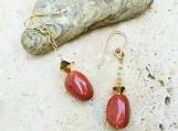 Goldstone Bead and Aurum Crystal Dangle Earrings - Beautiful Dangle Earrings - Elegant