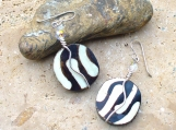 Hand Wired Coin Shaped Dyed Batik African Trade Bead Earrings - Beautiful