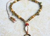 Horn Bone Brass Copper Jasper Cowrie Shell Necklace